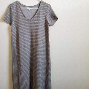 Pure J. Jill Porcini Grey Stripe maxi dress XS